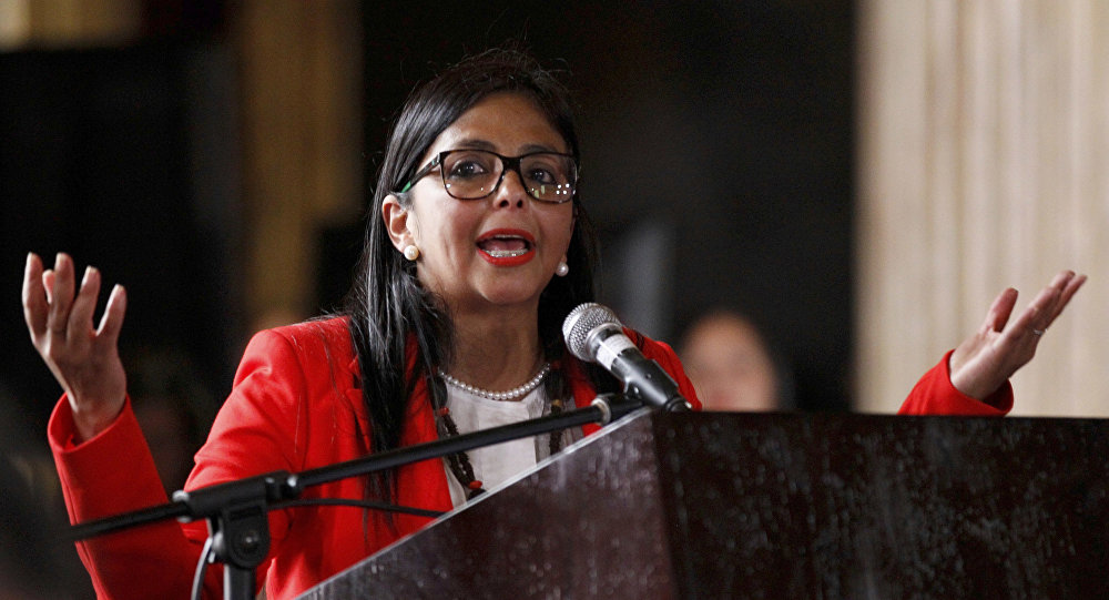 The President of Venezuela's Constituent Assembly, Delcy Rodriguez, speaks after the Constituent Assembly's swearing-in ceremony, inside Venezuela's National Assembly, in Caracas, Venezuela, Friday, Aug. 4, 2017. Venezuelan President Nicolas Maduro is heading toward a showdown with his political foes, after seating a loyalist assembly that will rewrite the country's constitution and hold powers that override all other government branches.