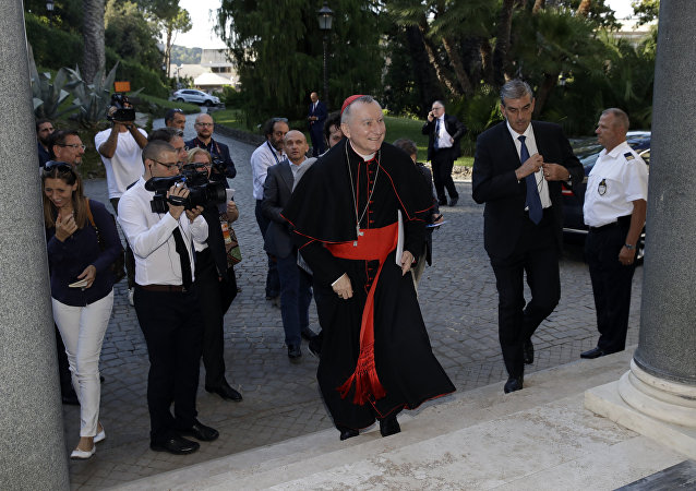Vatican secretary of State Cardinal Pietro Parolin arrives at an event where the Bambino Gesu hospital's annual report will be released at the Vatican, Tuesday, July 4, 2017