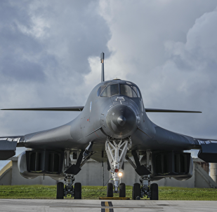 B-1 Lancer Prepares to Take Off From Guam