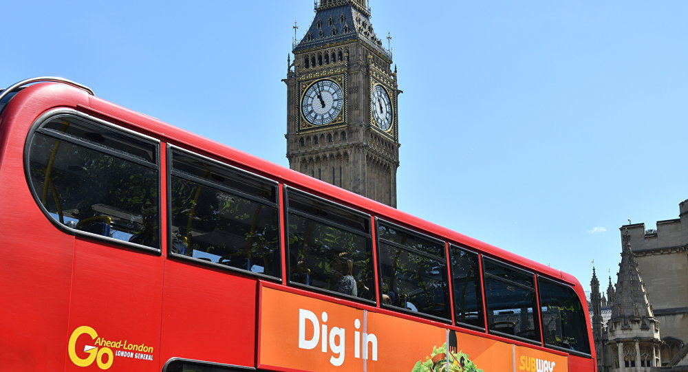 A bus in seen in front of the Houses of Parliament in London on June 10, 2017