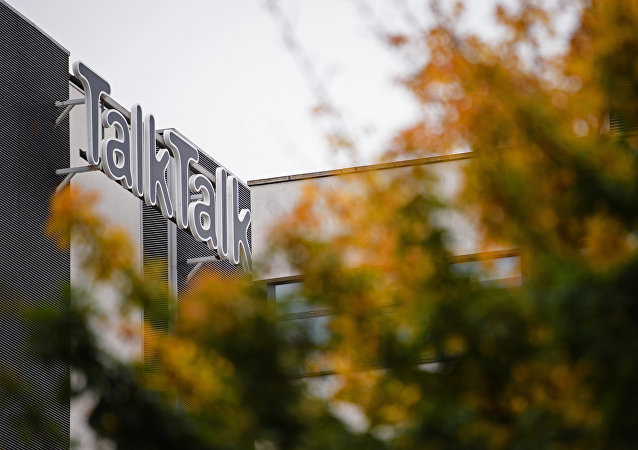 The TalkTalk logo is pictured outside the British telecommunications company's headquarters in west London on October 23, 2015