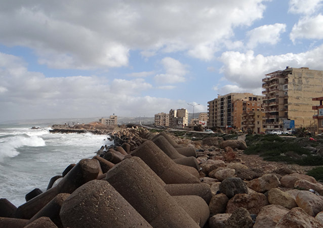 A picture taken on February 21, 2016 shows the sea shore of the eastern coastal Libyan city of Derna