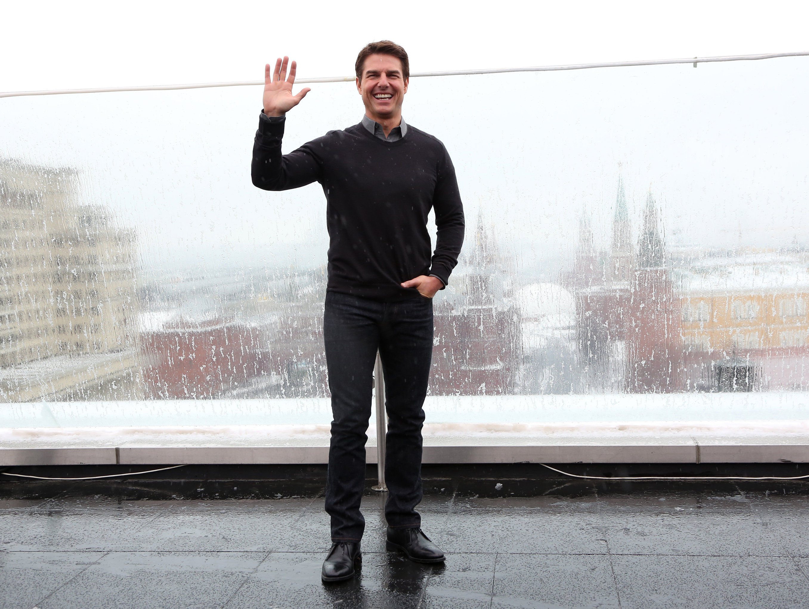 Actor Tom Cruise on the roof of Moscow's Ritz-Carlton Hotel at a photo call for Joseph Kosinski's film Oblivion. (File)