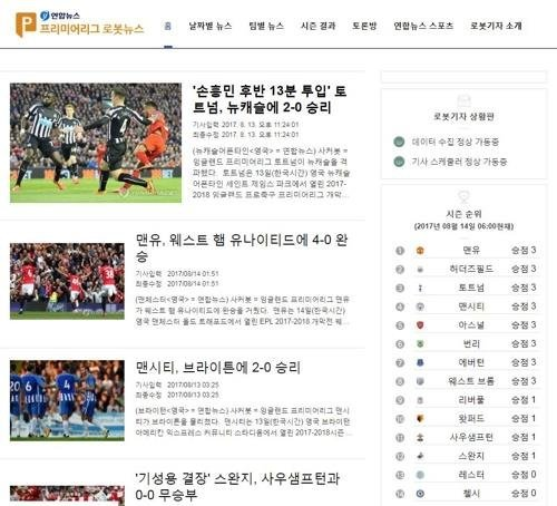 A screenshot of articles written by Yonhap News Agency's Soccerbot on the agency's web site