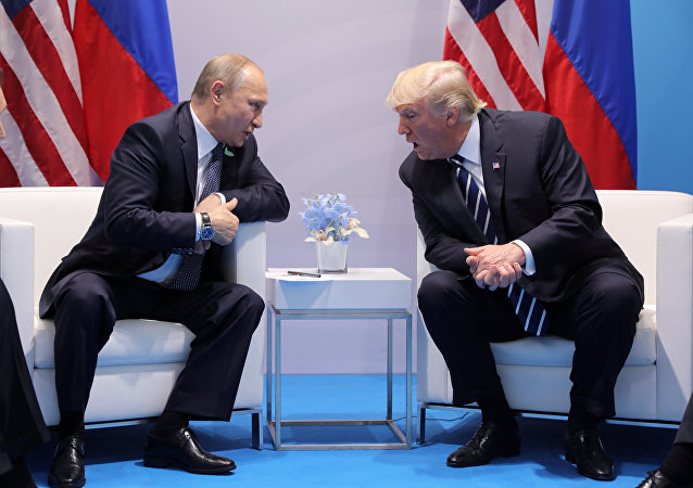 U.S. President Donald Trump speaks with Russian President Vladimir Putin during the their bilateral meeting at the G20 summit in Hamburg, Germany July 7, 2017