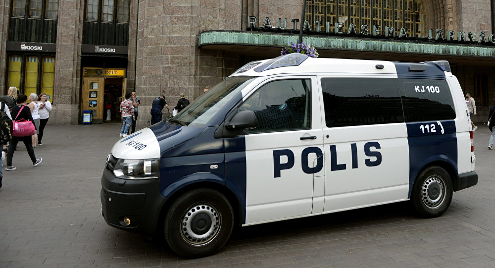 Finnish police patrol in front of the Central Railway Station, Helsinki
