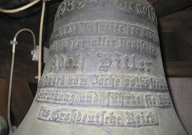 Bell with Adolf Hitler's name on it in the castle of Wolfpassing, Austria. (File)