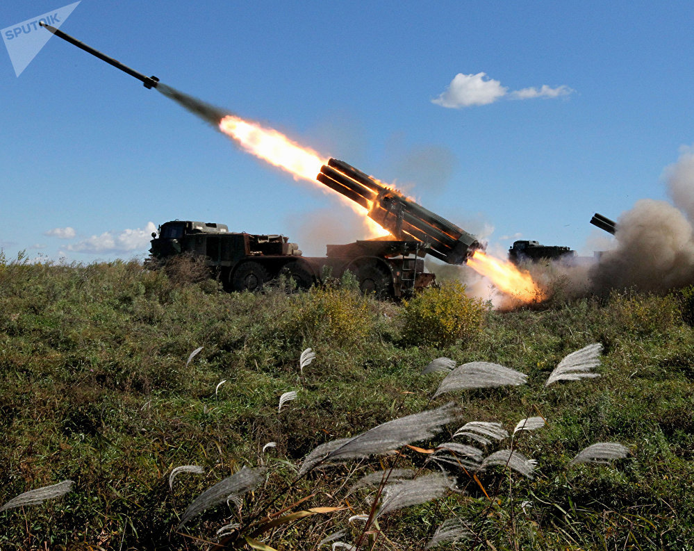 The BM-27 Uragan self-propelled multiple rocket launcher system during a military exercise of artillery units of the 5th Army at the Sergeyevsky training ground in the Primorye Territory.