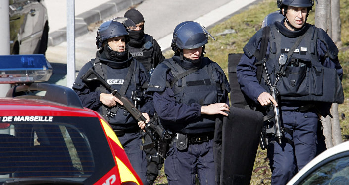 Police officers at  Marseille, southern France