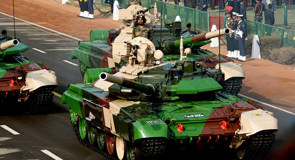 An Indian army T-90 (Bhishma) tank is seen during the full dress rehearsal for the upcoming Indian Republic Day parade in New Delhi
