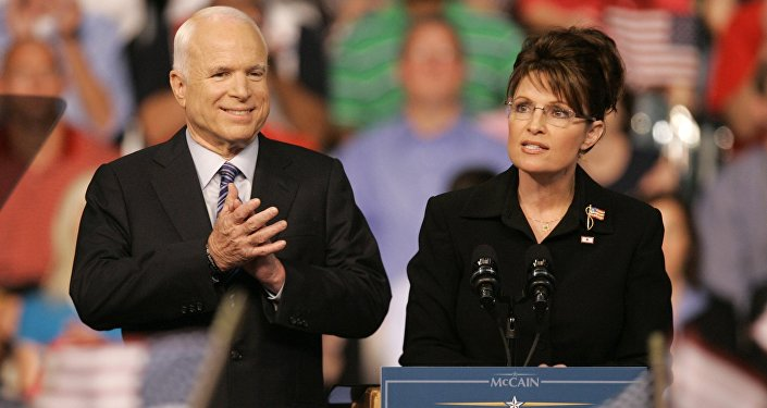 Republican Alaska Gov. Sarah Palin, right, delivers a speech as Republican presidential candidate, Sen. John McCain, R-Ariz., introduces her as his vice presidential running mate at Wright State University's Ervin J. Nutter Center in Dayton, Ohio. (File)