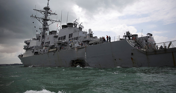 The U.S. Navy guided-missile destroyer USS John S. McCain is seen after a collision, in Singapore waters August 21, 2017