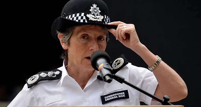 Metropolitan Police Commissioner Cressida Dick speaks during a service ahead of the start of the Police Unity Tour in central London
