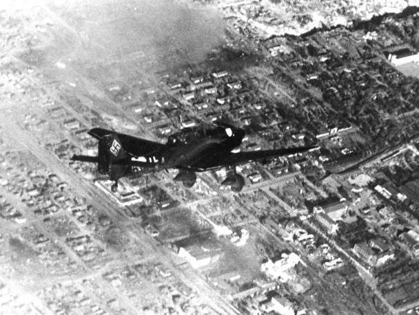 JunkersJu 87 Stuka dive bomber over the neighborhood west of the Red October factory; some of the administration buildings are at lower right; Bayonet Gully is at top right.