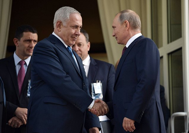 August 23, 2017. Russian President Vladimir Putin and Prime Minister of Israel Benjamin Netanyahu, foreground, left, during a meeting