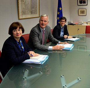 European Union's chief Brexit negotiator Michel Barnier and his delegation and Britain's Secretary of State for Exiting the European Union David Davis and his delegation attend a first full round of talks on Britain's divorce terms from the European Union, in Brussels, Belgium, July 17, 2017.