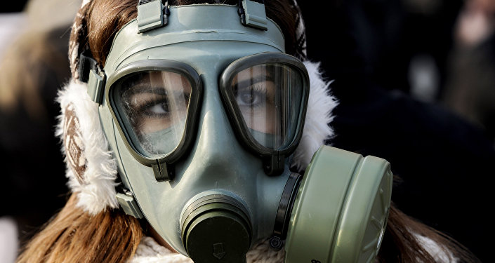 A woman wearing a gas mask participates in a protest against air pollution in Skopje Macedonia on Saturday Dec. 21 2013