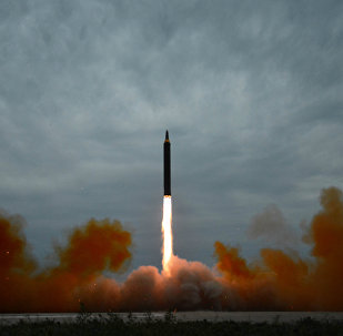 A missile is launched during a long and medium-range ballistic rocket launch drill in this undated photo released by North Korea's Korean Central News Agency (KCNA) in Pyongyang on August 30, 2017.