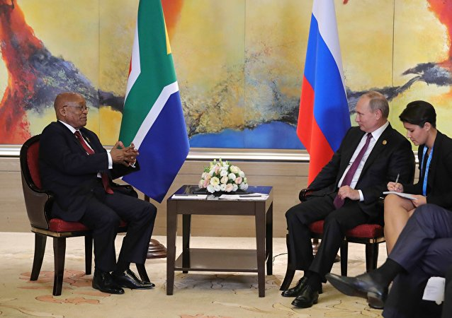 September 4, 2017. Russian President Vladimir Putin and South African President Jacob Zuma, left, during a meeting on the sidelines of the BRICS summit