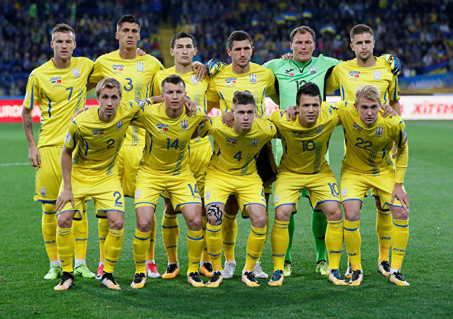 Ukraine players pose for the pre match photograph. 2018 World Cup Qualifications - Europe - Ukraine vs Turkey - Kharkiv, Ukraine September 2, 2017.