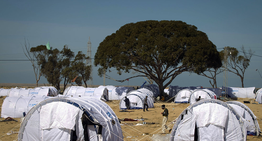 Refugees at the camp, near the border with Libya. (File)