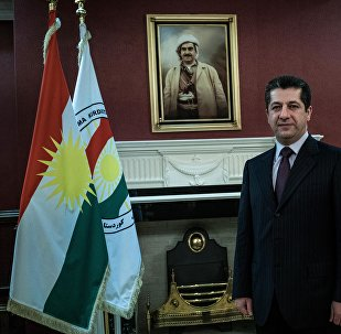 Masrour Barzani, head of the Kurdistan Regional Government's security council, and the son of Kurdish President Masoud Barzani, poses for a portrait after an interview with The Associated Press in Salahuddin, Iraq, Tuesday, Feb. 9, 2016.