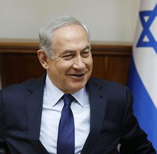 Israeli Prime Minister Benjamin Netanyahu attends the weekly cabinet meeting in Jerusalem, Sunday, July 30, 2017