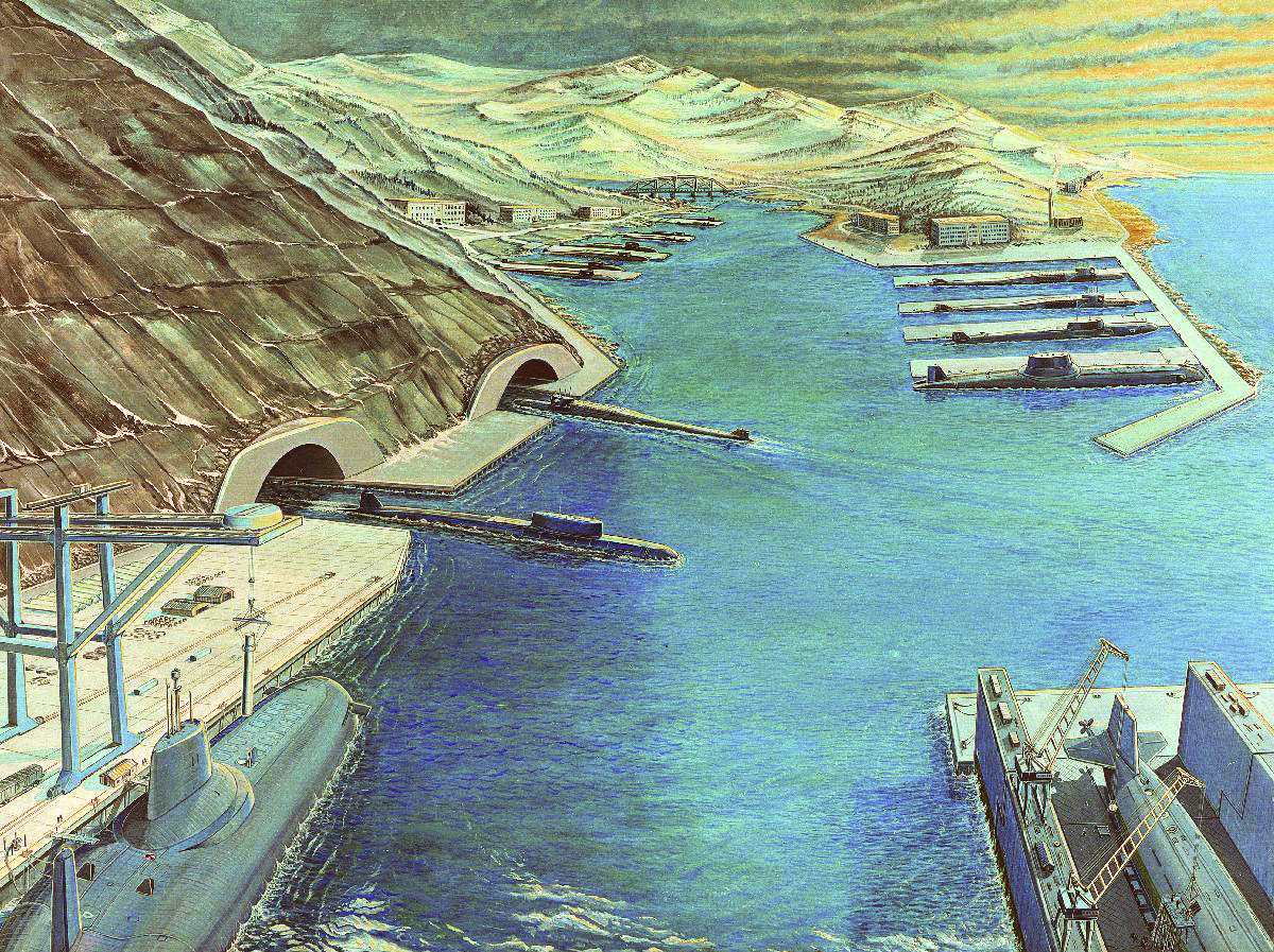 Soviet ballistic missile sub base, artist's rendering by the DIA.
