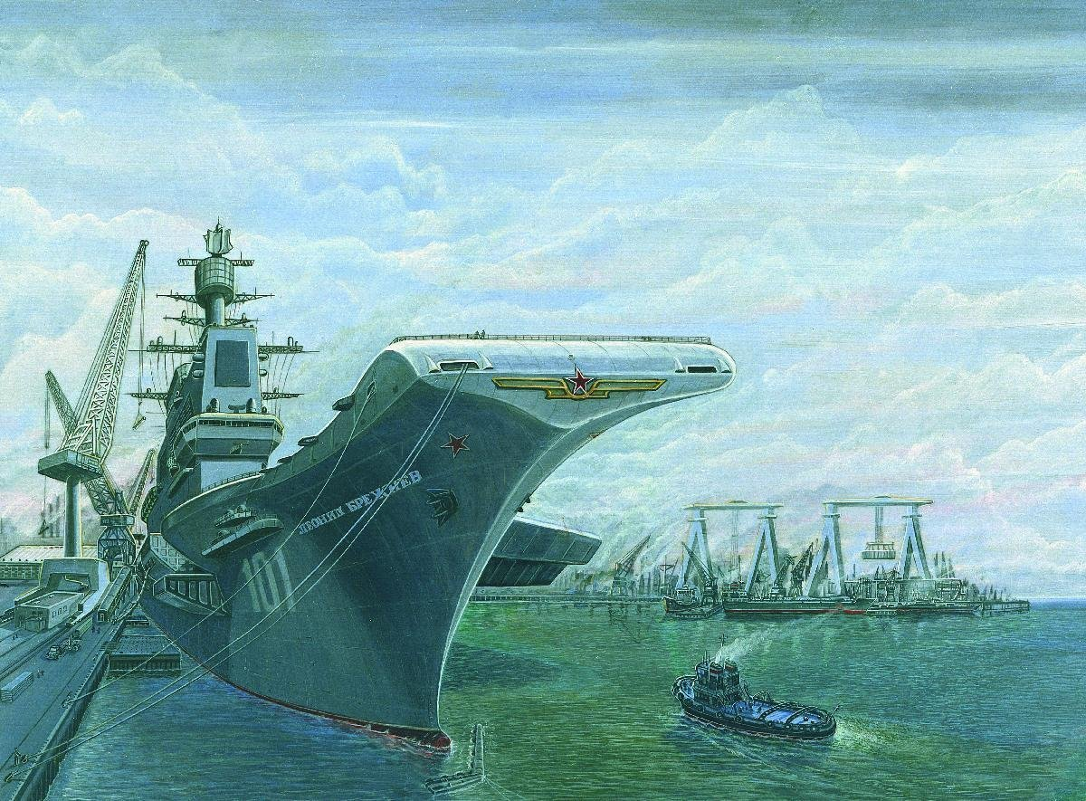 Soviet Tbilisi-class carrier, artist's rendering by the DIA.