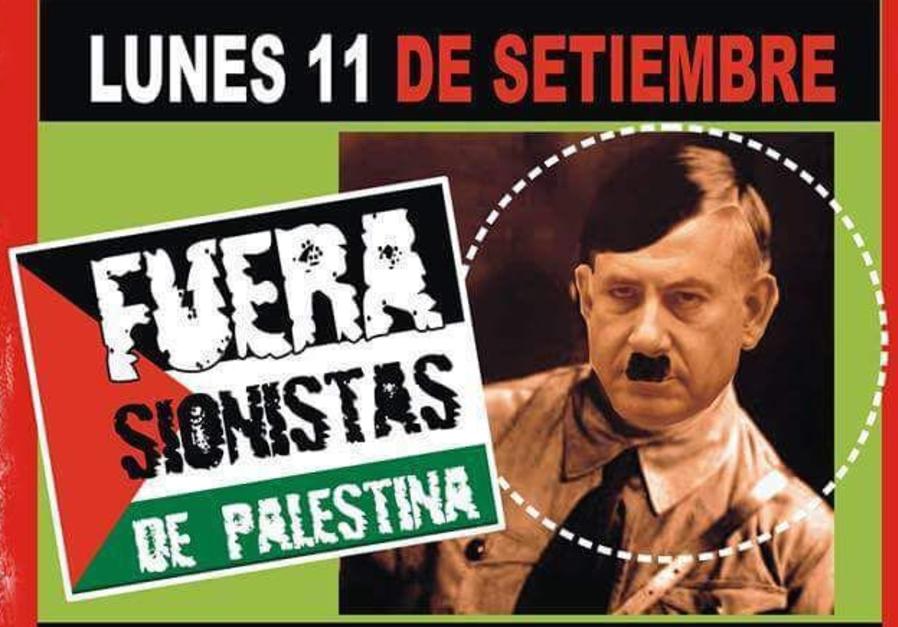 A poster depicting Benjamin Netanyahu as Hitler