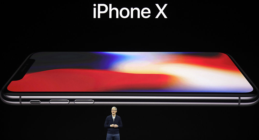 Apple CEO Tim Cook announces the new iPhone X at the Steve Jobs Theater on the new Apple campus, Tuesday, Sept. 12, 2017, in Cupertino, California.