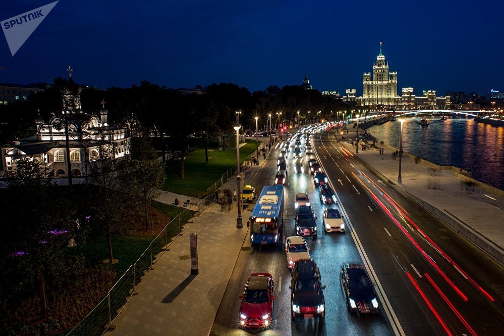 Traffic in Moscow near Zaryadye Park