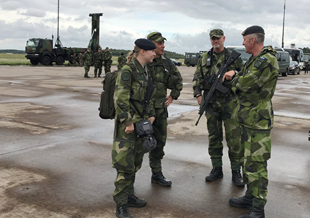 Sweden's soldiers attend the Aurora 17 military exercise in Gothenburg, Sweden September 13, 2017