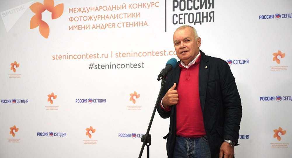 Rossiya Segodnya International Information Agency Director General Dmitry Kiselev at the exhibition of Andrei Stenin International Press Photo Contest finalists' works at the Lumiere Brothers Center for Photography in Moscow
