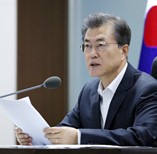 South Korean President Moon Jae-in presides over the National Security Council at the Presidential Blue House in Seoul, South Korea, September 15, 2017