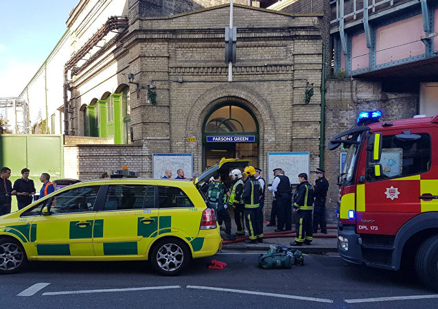 Emergency services attend the scene following a blast on an underground train at Parsons Green tube station in West London, Britain September 15, 2017, in this image taken from social media