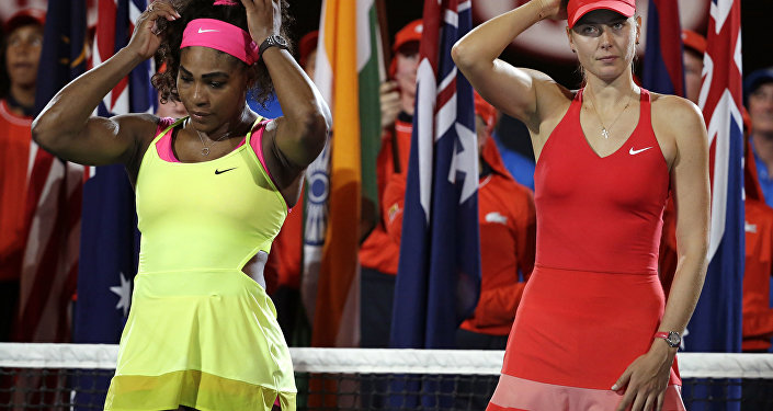 In this Saturday, Jan. 31, 2015 file photo, winner Serena Williams of the US, left, and runner-up Maria Sharapova of Russia, right, wait for the trophy presentation after the women's singles final at the Australian Open tennis championship in Melbourne, Australia.