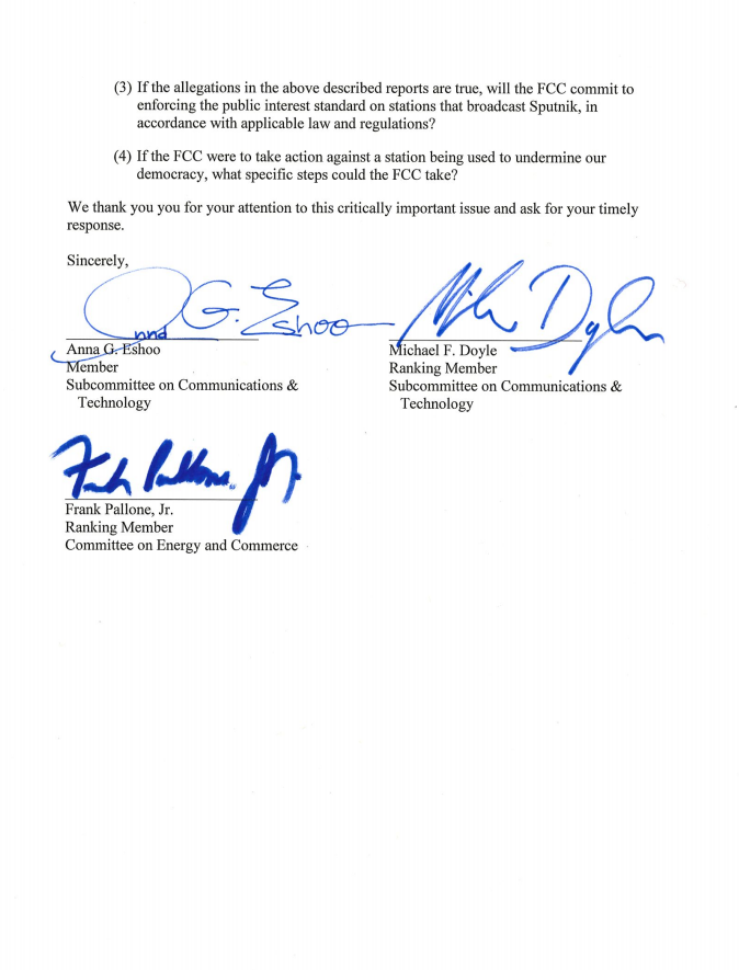House of Representatives Open Letter to Chairman of the Federal Communications Commission