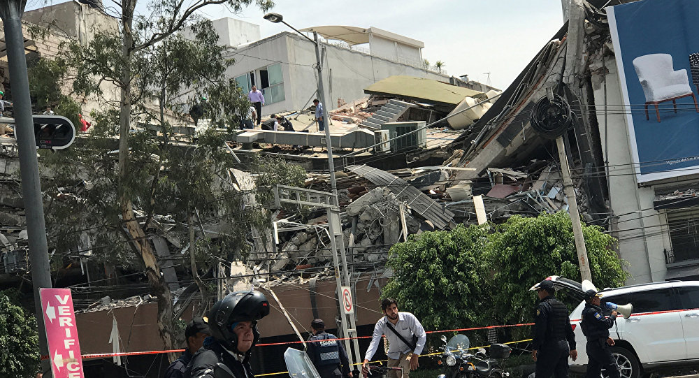 Damages are seen after an earthquake hit in Mexico City, Mexico September 19, 2017.