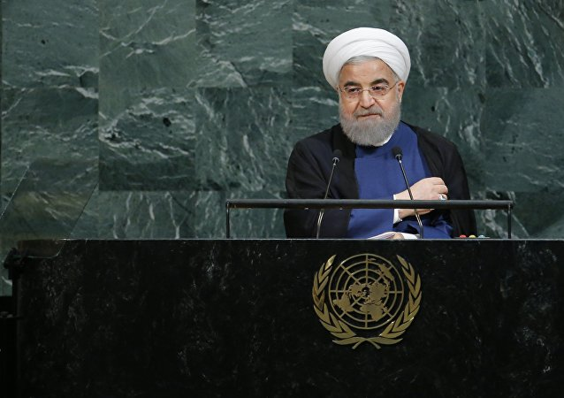 Iranian President Hassan Rouhani concludes his address at the 72nd United Nations General Assembly at U.N. headquarters in New York, U.S