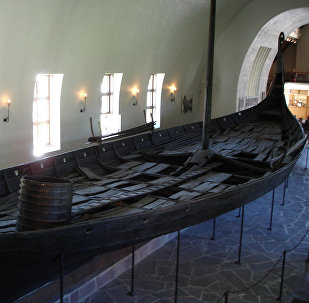 Viking burial vessel in the Viking Ship Museum, Oslo, Norway (File)