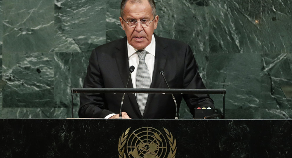 Russian Foreign Minister Sergey Lavrov addresses the United Nations General Assembly on Thursday Sept. 21 2017 at U.N. headquarters