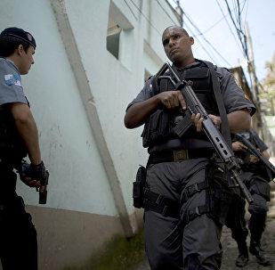 Paramilitary police personnel at Rocinha shantytown in Rio de Janeiro, Brazil. (File)