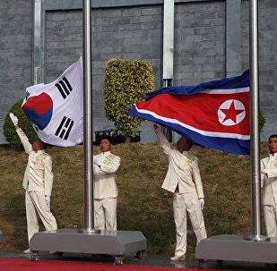 The flags of South Korea and North Korea