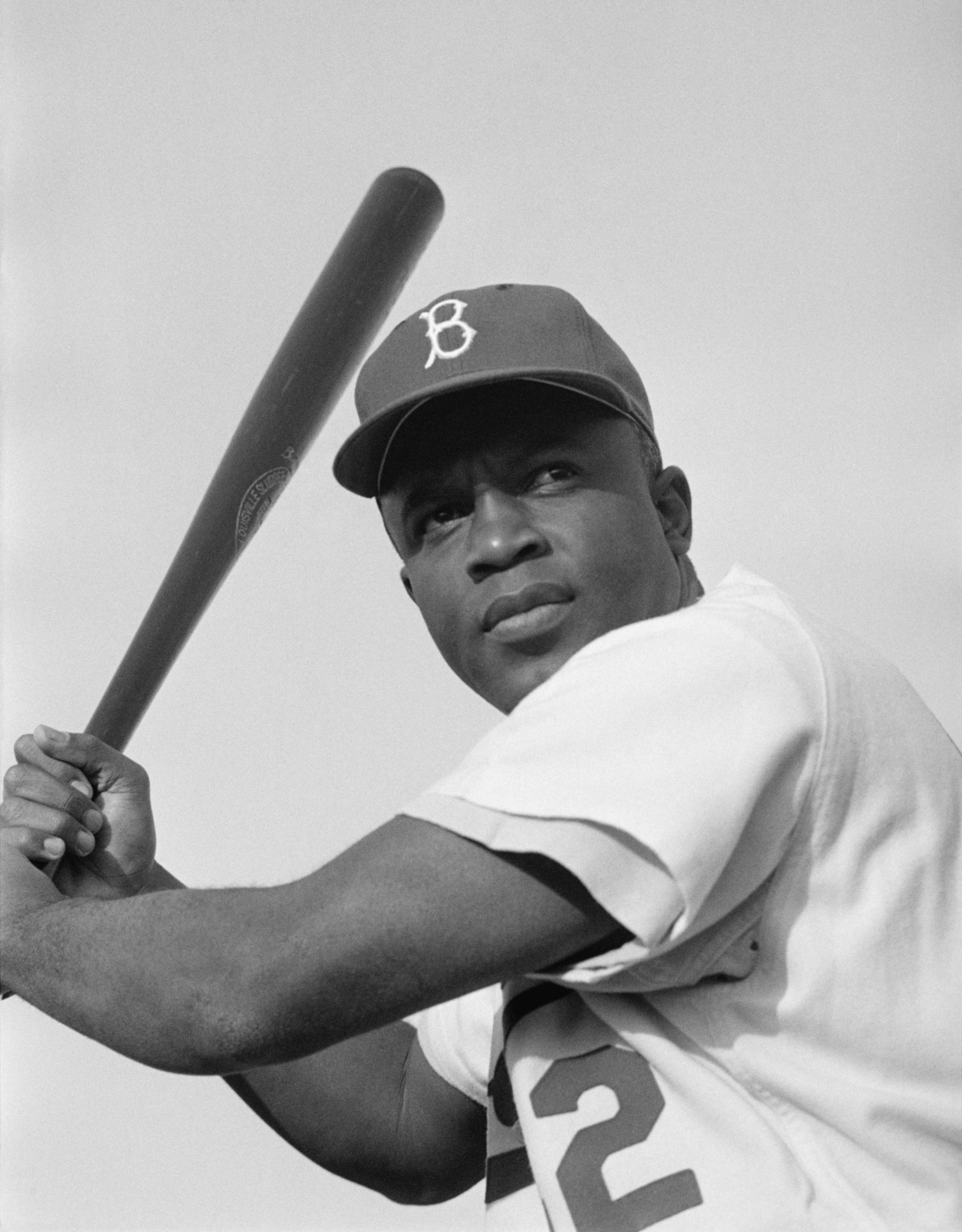 Jackie Robinson of the Brooklyn Dodgers, posed and ready to swing. (File)