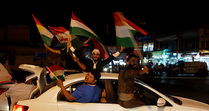 Kurds celebrate to show their support for the independence referendum in Erbil, Iraq September 25, 2017