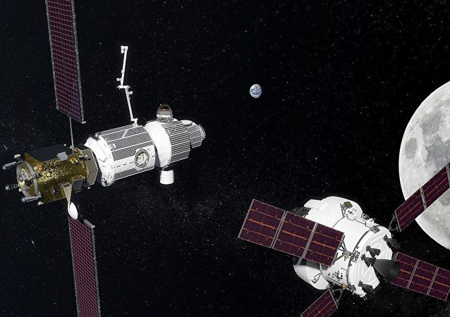 Deep Space Gateway in lunar orbit as proposed in 2017
