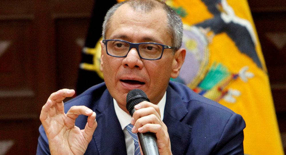 Ecuador's Vice President Jorge Glas gives a news conference in Quito, Ecuador, August 21, 2017