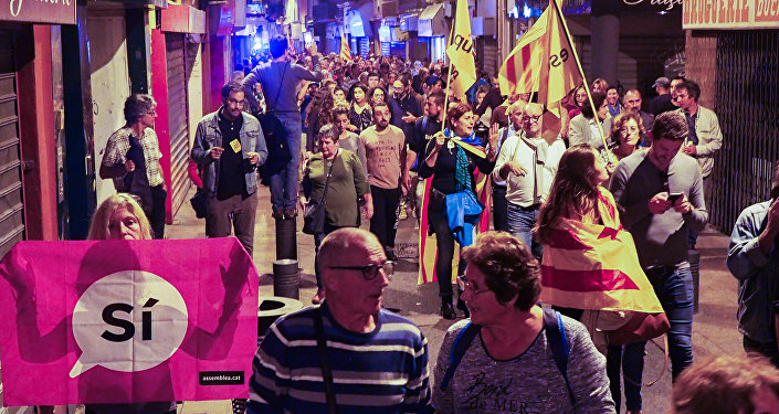 Some 500 people demonstrate in Perpignan on October 2, 2017 to protest against police violence during a banned independence referendum in the Catalan region in Spain