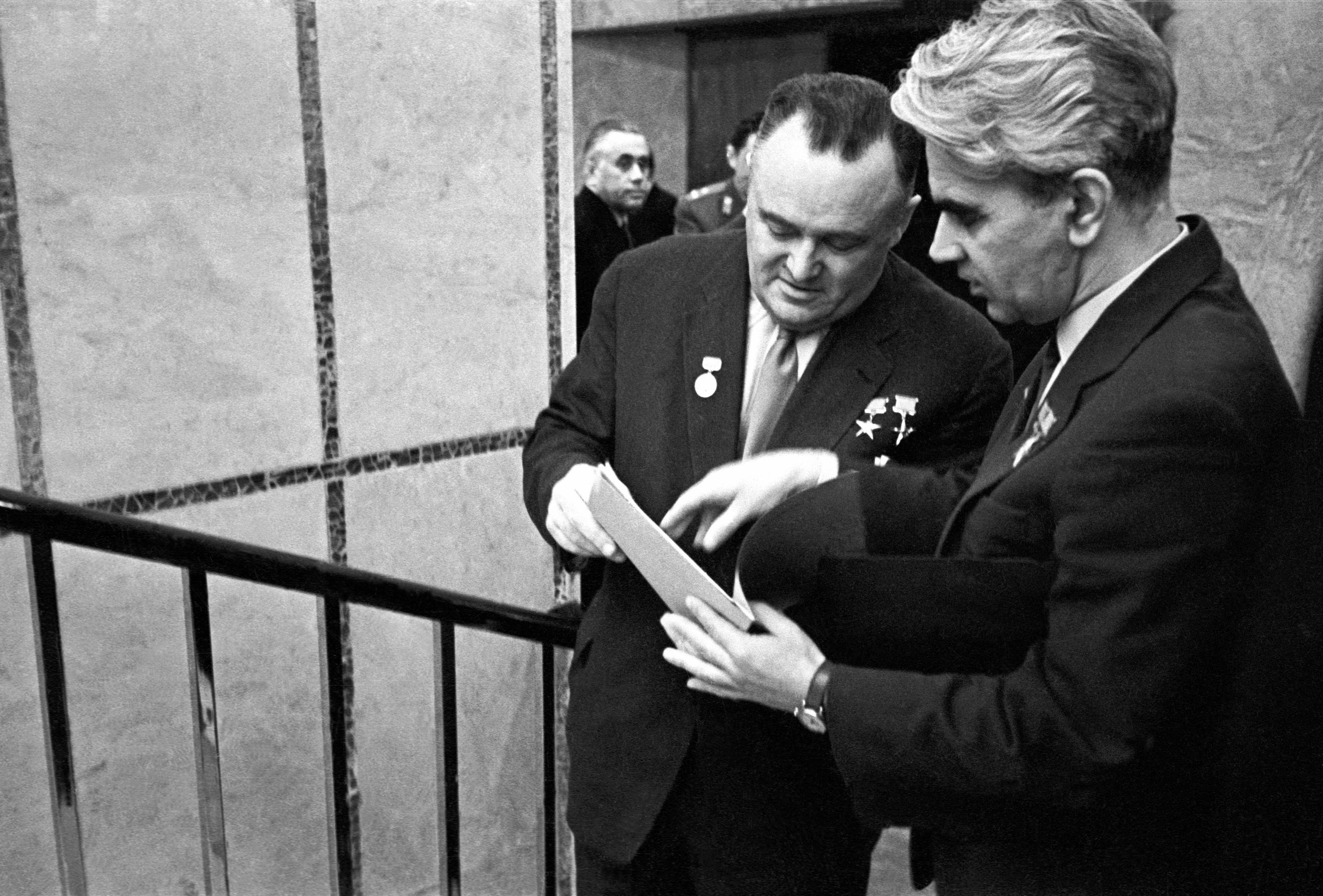 Chief designer Sergei Korolyov and Mstislav Keldysh (left to right) attending the 20th Congress of the Soviet Communist Party in 1956. (File)